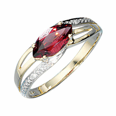 Damen Ring 585 Gold Gelbgold bicolor 1 Granat rot 2 Diamanten Brillanten Gr.52