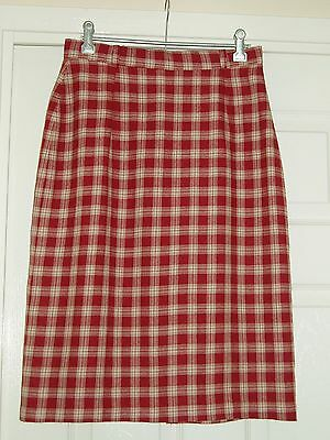 VINTAGE LADIES SKIRT - LINED - MICHELLE ROBERTS - RED CHECK - SIZE 8/10 - c1980