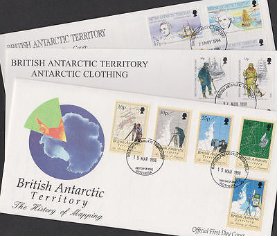 British Antarctic Territory 1994-98 FDC 3 Covers Heritage Clothing Mapping Maps