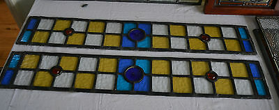 2 leaded stained light glass window panels R448. WORLDWIDE DELIVERY!!!