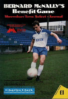1988/89 Shrewsbury Town v Arsenal, McNally Testimonial - PERFECT CONDITION