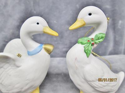 2 Vintage Homco White Bisque Winter Geese Christmas Ornaments #5255 Taiwan