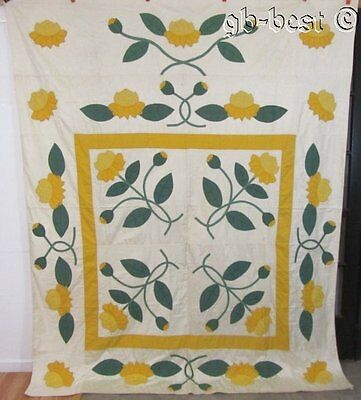 """Beautiful c 1930s Yellow Water Lily Applique Vintage Quilt 96 x 77"""" UNUSED"""