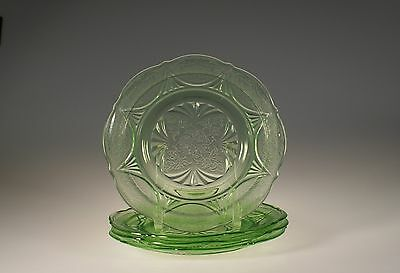 Set of 4 Vintage Hazel Atlas Glass Green Royal Lace Luncheon Plates VG c.1935