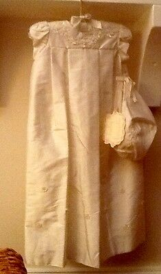 Gorgeous Baby Biscotti Silk Christening Gown Set  Layette Newborn Ivory NWT