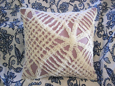 Vintage Purple Wedding Ring Chenille MJ Popcorn Back Throw Pillow with insert