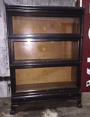 Antique Macey 3 Stack Section Stacking Barrister Bookcase w/ Claw Feet & Drawer