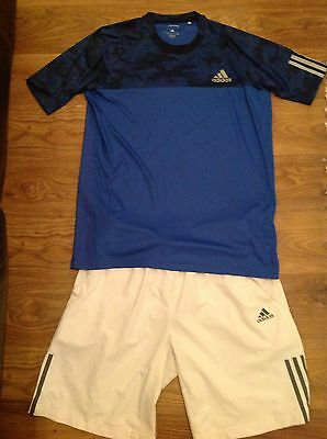 Adidas Response Tennis Outfit Set Blue Top & White Shorts Mens Small  Climacool