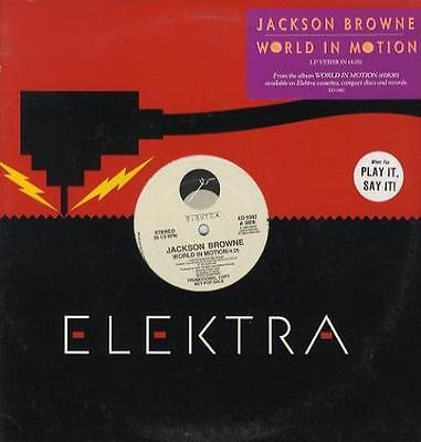 "JACKSON BROWNE World In Motion US promo 12"" + sticker ED5382"