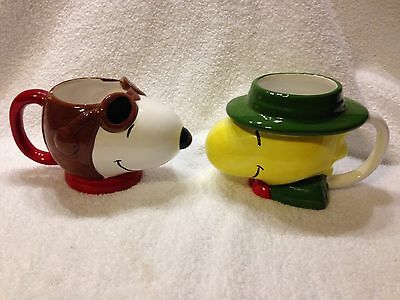 Set Of Two Vintage Snoopy And Woodstock Mugs Pilot Flying Ace #36123, #36124