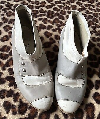 Cute Vtg 1980S Grey/white Ankle Boots/shoe Boots*uk 5*great Vtg Condition!