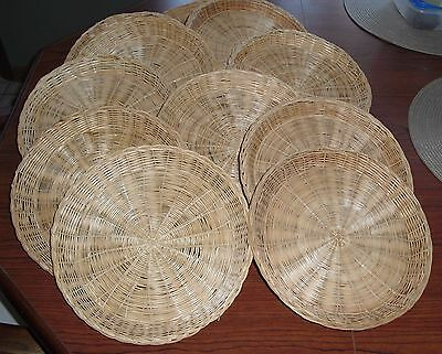 """11 Vintage 70's Wicker Paper Plate Holders ~ Picnic/BBQ/RV ~ 9.5"""""""
