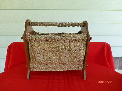 Vintage Antique Wood Magazine Rack Fabric Book Holder Maple Wooden Container