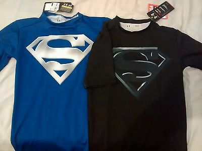 2 Under Armour HeatGear Superman mens compression top shirt marvel