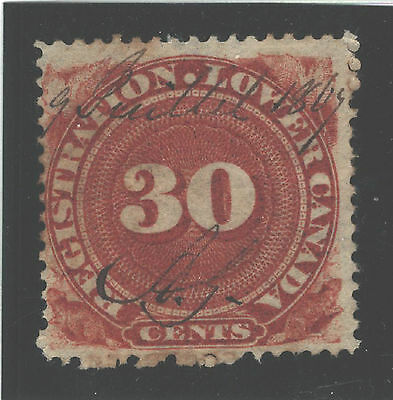 CANADA QUEBEC REVENUE #QR3; O; F; 30 Cents red-brown; registration; dated 1869