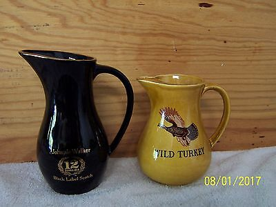 Lot Of 2 Whiskey Water Pub Jugs Pitchers Johnnie Walker And Wild Turkey Whisky