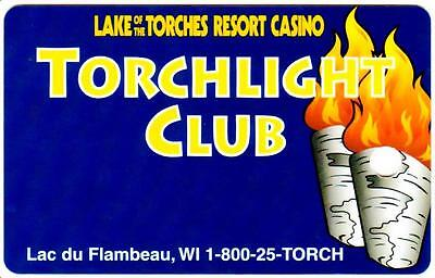 LAKE OF THE TORCHES hotel casino*TORCH LIGHT *Vintage BLANK~WI slot/players card