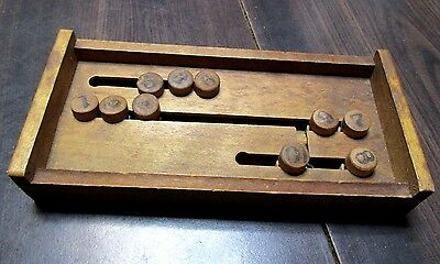 Antique  Number Puzzle Wood Treen School Toy Hand Made Folk Art Wooden Rare Old