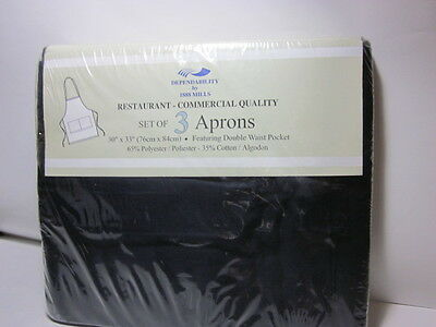 "Black Aprons Double Waist Pocket set of 3 30""x33"" !! Free Shiping"