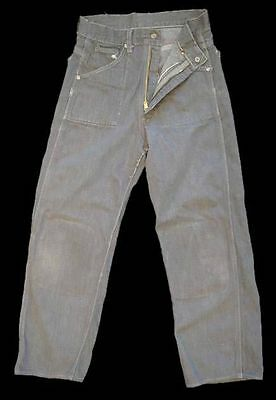 Vintage  Denim Jeans Cotton Gray  Small  24W22Inseam  1950'S Damaged