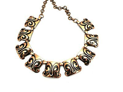 Vintage Copper Necklace and Earrings 1950s