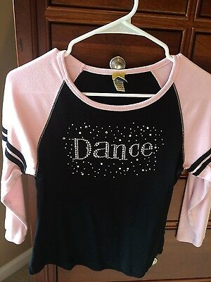 Girls Ballet Dance shirt, SPARKLY rhinestones, black with pink sleeves, youth XL