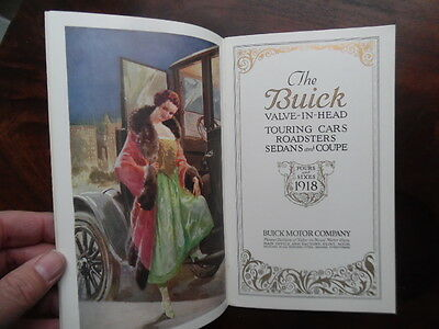1918 BUICK Valve-In-Head Motor Car Catalog Fours & Sixes Brass Age ORIGINAL VG+