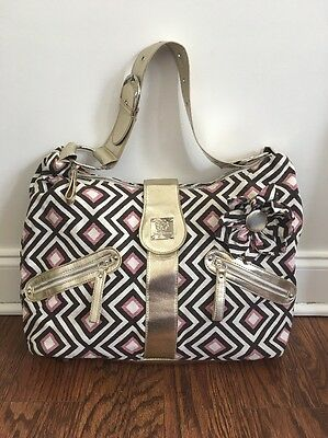 Bella Tunno Super Star Slouch Diaper Bag Pink Brown Canvas Gold Leather Trim