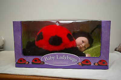 1998 Anne Geddes Baby Ladybug Sleeping Plush Doll Sealed In Box 13""