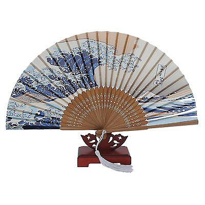 Japanese Handheld Folding Fan, with Traditional Japanese Ukiyo-e Art Prints E8