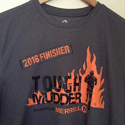 Merrell Men's Running Shirt 2016 Finisher Tough Mudder Gray Orange Logos Sz S
