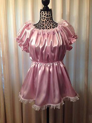 Pink ABDL Sissy Satiin Dress and Bottom/Diaper Cover