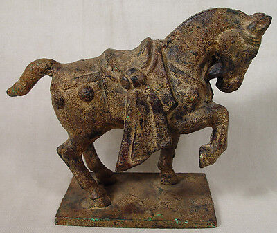 Vintage Mid Century Cast Iron Tang War Style Horse  Sculpture on Stand
