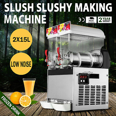 Commercial 2 Tank Frozen Drink Slushy Making Machine Smoothie Maker 30L New