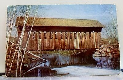 New Hampshire NH Andover Single Span Covered Bridge Postcard Old Vintage Card PC