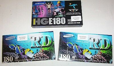 3 x Samsung E-180 VHS video tapes (videotapes)
