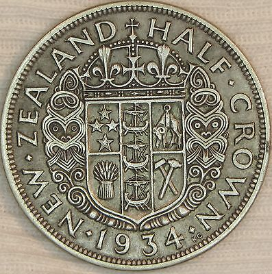 New Zealand 1934 Silver 1/2 Crown   #15-34