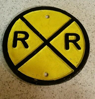 Cast Iron Round Yellow RR Railroad Train Track Crossing Sign Plaque
