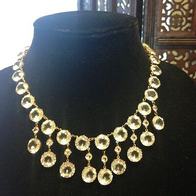 Stunning Antique Brass Mount Large Rock Crystal Necklace Open Back Mounting