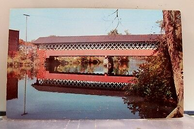 New Hampshire NH Swanzey Covered Bridge Ashuelot River Postcard Old Vintage Card