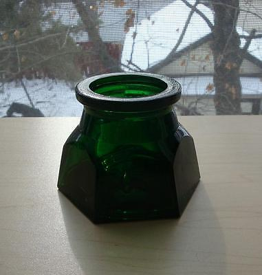 """Antique Emerald Green Bottle Six Sided 3"""" H"""