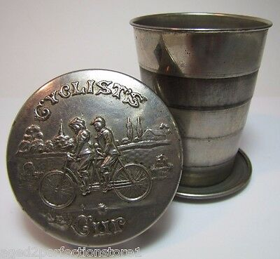 Antique Cyclists Cup old embossed bicycle built for 2 expandable folding metal