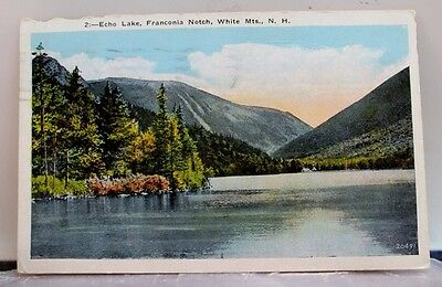 New Hampshire NH Echo Lake Franconia Notch White Mountains Postcard Old Vintage