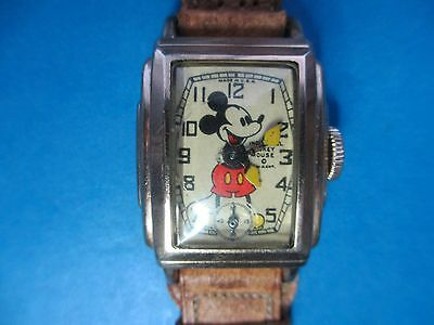 1939 Ingersoll Kelton Curved Mickey Mouse Character Watch -Works Great!