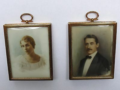 A Couple of Vintage Heirloom Portraits, Hand Painted on Porcelain