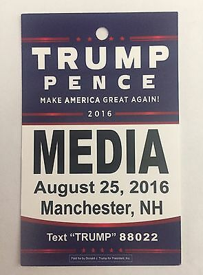 DONALD TRUMP PENCE RALLY - MEDIA PASS / Credentials Aug 25 Manchester ,NH RARE!