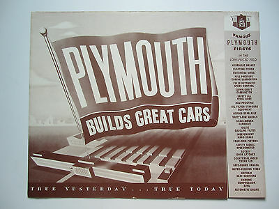 1949 PLYMOUTH - Builds Great Cars Dealer Catalog Fold Out ✨ Salesmans Brochure ✨