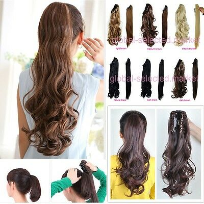 100% Real Thick New Clip In human Hair Extension Pony Tail Claw Jaw Ponytail G2T