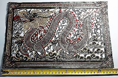 Handcraved and Painted Silhouetters Leather Dargon Wall Hanging Picture Decorate