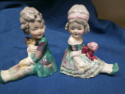 Vintage Porcelain Bookends Period Boy & Girl Repaired